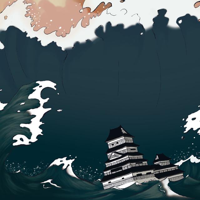 Ilustración Un tsunami llamado dragón