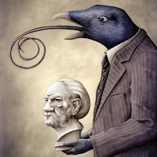 Ilustración viejo profesor, proyecto Fernando Fenán gómez